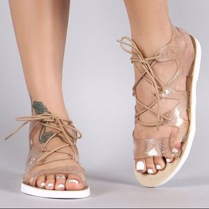 BAMBOO Shoes - Jelly Lace Up Gladiator Sandal